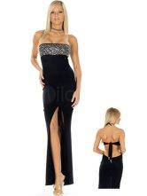Чёрное длинное платье с разрезом купить.