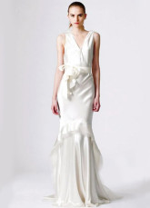 White Classical Satin V-neck A-line Celebrity Wedding Dresses