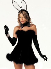 Pretty Black 82% Spandex 18% Nylon Womens Sexy Bunny Costume