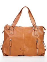 Hot Wheat Cowhide 43*12*38cm Zippers Metallic Shoulder Bag For Ladies
