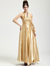 Gorgeous Golden Satin Halter Floor Length Womens Evening Dress
