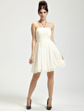 Cute Ivory Chiffon Strapless Womens Homecoming Dress