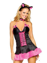 Popular Black 82% Spandex 18% Nylon V-neck Womens Fantasy Costume