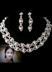 Transparent Alloy Rhinestone Pearl Necklace Earrings Bridal Jewelry Set