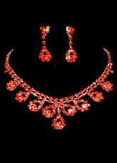Lucky Red Rhinestone Alloy Wedding Jewelry Set For Bridal