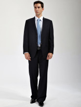 Handsome Black 65% Wool 35% Cuprammonuium Mens Business Suits