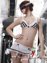 Charming Black White 95% Chinlon 5% Spandex Womens Sexy Bra Set