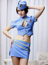 Light Blue 82% Polyester 18% Wool Womens Sexy Costume