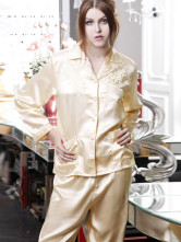 Magnificent Golden 90% Lycra 10% Silk Single-Breasted Embroidered Ladies Pajama Set