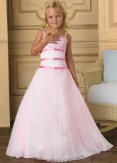 ...розовый шифон спагетти развертки поезд маленьких девочек платье.