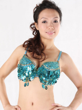 Green 100% Cotton Sequin Belly Dance Bra