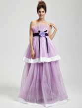 Romantic Lilac Tulle Strapless Floor Length Womens Masquerade Ball Gown