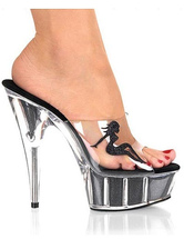 Cool Translucent 5 7/10'' Heel 1 7/10'' Platform Patent Leather Womens Sexy Sandals