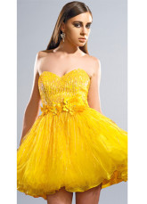 Modern Bright Yellow Heart-shaped A-line Tulle Womens Homecoming Dress