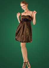 Modern Chocolate Sweetheart Neckline Elastic Satin A-line Womens Homecoming Dress