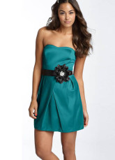 Modern Army Green Sweetheart Neckline Mini Satin A-line Womens Homecoming Dress