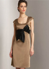 Noble Brown Square Neckline Satin A-line Womens Homecoming Dress