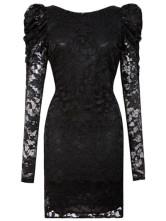 Кружевное мини-платье с длинным рукавом и глубоким вырезом сзади.