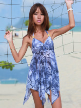 Blue 82% Chinlon 18% Spandex Skirted Swimsuit