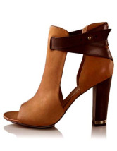 Attractive Light Brown 3 1/5'' High Heel PU Womens Shoes