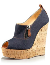 Attractive Blue 4 1/2'' High Heel Womens Wedge Shoes