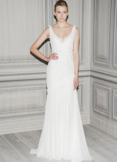 White Chiffon V-Neck Floor Length Womens Spring 2012 Wedding Trends