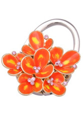 Modern Foldable Orange 80mm 91g Zinc Rhinestone Purse Hanger