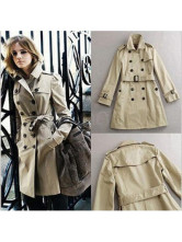 Elegant khaki Cotton Trench Coat For Women