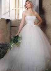 White Net Strapless Bow 2012 Wedding Dress