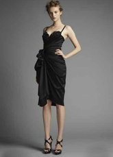 Satin Spaghetti Knee Length Little Black Dress