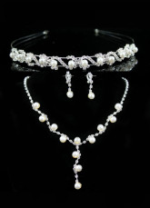 Elegant White Alloy Silver-plating Pearl Tiara Necklace Earrings Wedding Bridal Jewelry Set