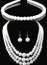 Attractive White Pearl Tiara Necklace Earrings Wedding Bridal Jewelry Set