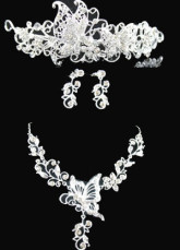 Pretty Silver Alloy Silver-plating Tiara Necklace Earrings Wedding Bridal Jewelry Set