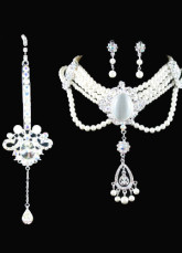 Beautiful White Alloy Silver-plating Pearl Tiara Necklace Earrings Wedding Bridal Jewelry Set