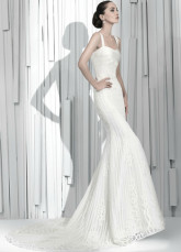 White Fashion Lace Mermaid Trumpet Spaghetti Luxury Wedding Dress