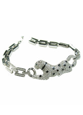 Argent Animal 50 * 18 mm en alliage Crystal Womens Fashion Bracelet