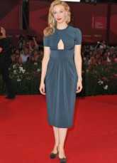 Blue Short Sleeves Tea Length Silk Like Satin Venice Film Festival Dresses