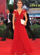 Red V-Neck Floor Length Chiffon Venice Film Festival Dresses