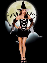 Black Strapless Yarn Imitated Silk Halloween Witch Costumes