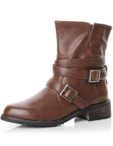 "Khaki 1 2/5"" Heel Buckle PU Ankle Boots For Women"