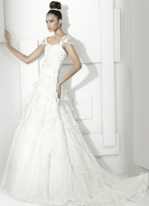 White Net Square Collar Sweep 2012 Trends Luxurious Wedding Dress