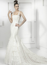 Elegant White Lace Square Collar Sweep 2012 Trends Luxurious Wedding Dress