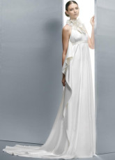 Pretty White Elastic Woven Satin A-line Halter Wedding Dress