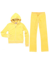 Suitable Yellow Velvet Long Sleeves Womens Activewear Set