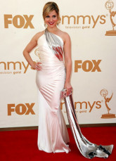 Pink Cara Buono One-Shoulder Floor Length Elastic Woven Satin Emmy Awards Dress