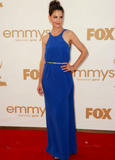 Blue Katie Holmes Floor Length Golden Sash Chiffon Emmy Awards Dress