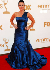 Royal Blue Mermaid Trumpet Kyle Richards One-Shoulder Taffeta Emmy Awards Dress