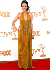 Yellow Louise Roe Halter Floor Length Tulle Emmy Awards Dress