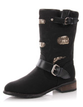 Cool Black Cow Leather Cloth Womens Mid Calf Boots