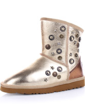 Light Golden Calfskin Rivet Womens Flat Snow Boots